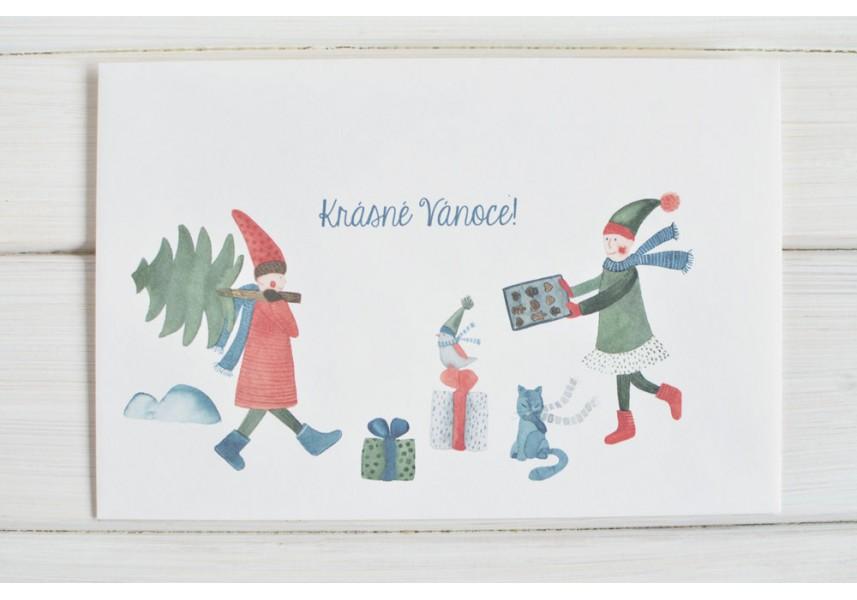 Vánoční obálka na dar - Skřítci