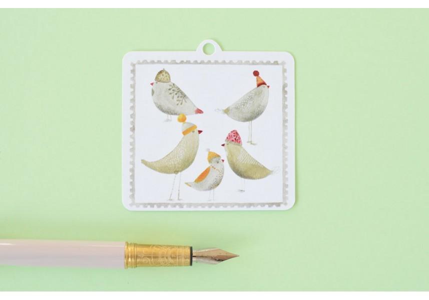 Vánoční cedulky Ptáčci, 5 ks