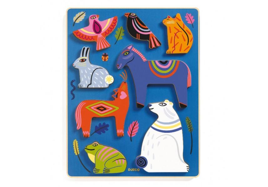 Totemová zvířata vkládací dřevěné puzzle